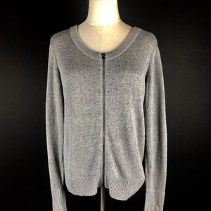 Talbots Studded Zip Front Cardigan Size M